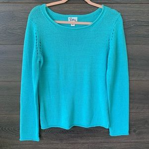 LILLY PULITZER | VTG Blue Raw Hem Knitted Pullover